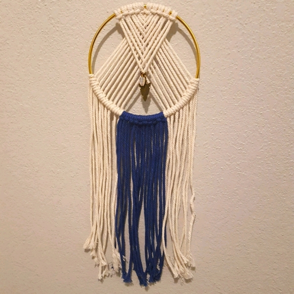 Handmade macrame wall hanging with charms